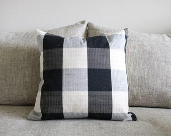 "18 - Black & Cream Buffalo Plaid Pillow Cover - 18"" x 18"""