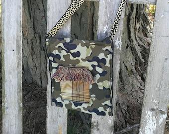 Camo Crossbody Bag Unique Purse OOAK Girlfriend Gift Zero Waste Eco Friendly Gift
