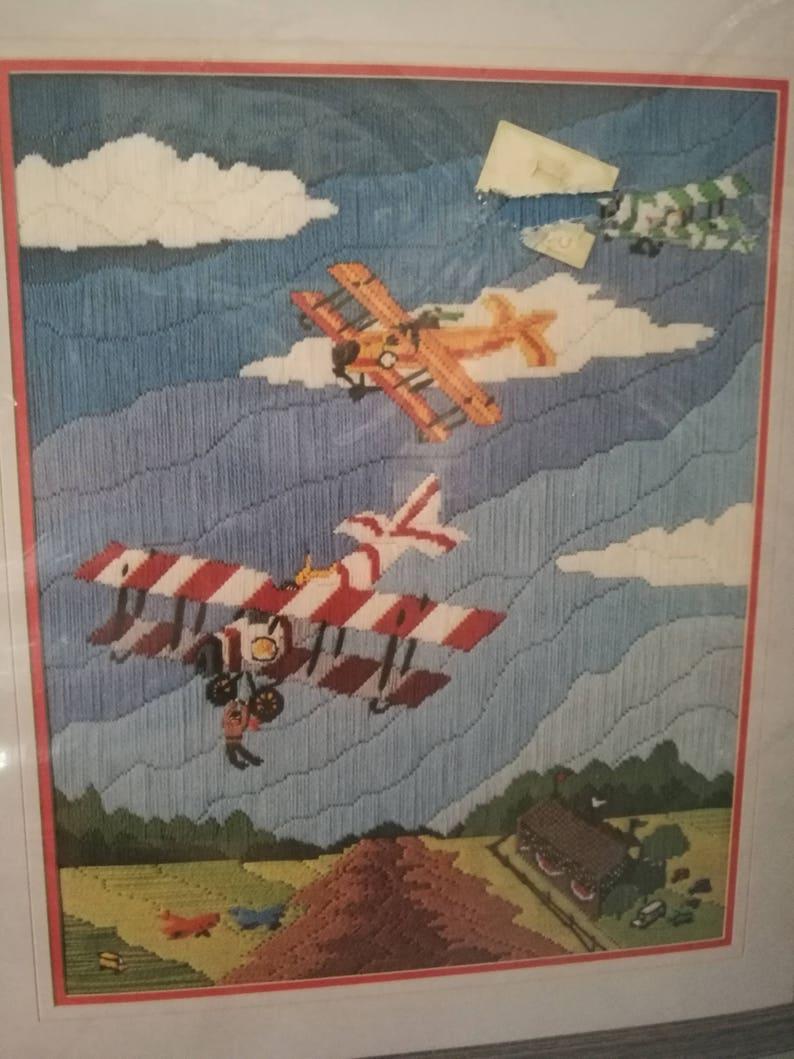 Barnstormers Biplanes Airplanes Needlepoint 16