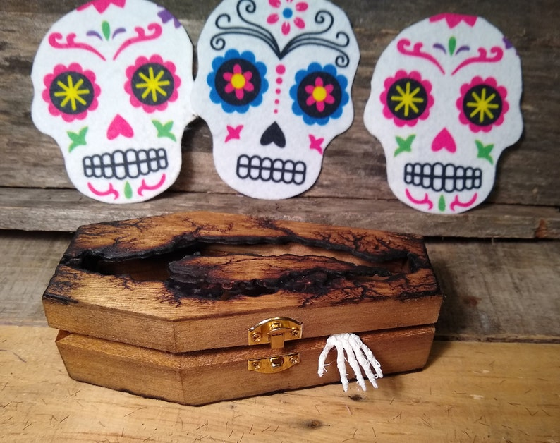 Gothic Jewelry Ring Box Wood Mini Coffin Halloween Goth Trinket Storage  6