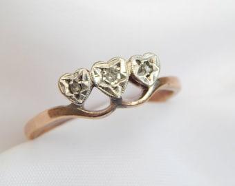 edwardian engagement ring - diamond trilogy ring in 9ct rose gold