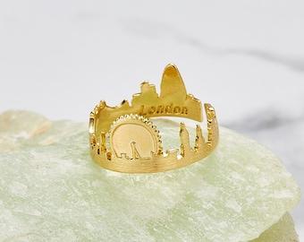 Adjustable London skyline londonbridge skyshape landscape ring - gold / silver / rose gold