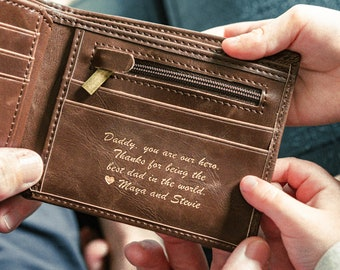 Gift for Dad – Personalized Men's Leather Wallet – The Perfect Gift for Him, Boyfriend Gift or Wedding Gift
