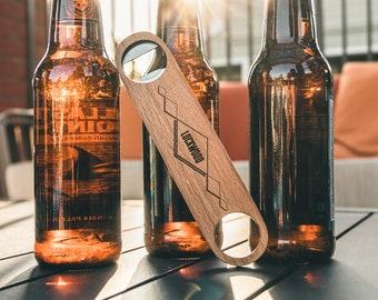 Engraved Bartender Bottle Opener - Great Gift for Dads and Grads - Personalized Wood Bottle Opener