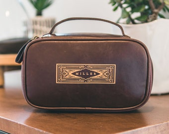 Personalized Leather Dopp Kit - Custom Leather Toiletry Bag for Men - Unique Christmas Gifts, Best Gift for Husband, Gifts for Dad