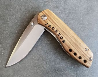 Groomsmen Gift - Personalized Zebrawood Pocket Knife - The Perfect Boyfriend Gift, Men's Gift or Groomsman Gift