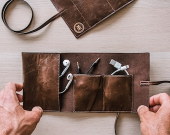 Personalized Leather Tech Roll Up - Unique Travel Gift for Men or Women - Unique Men's Gift