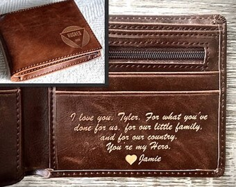 Anniversary Gift - Personalized Mens Wallet - Husband Gift, Mens Gift