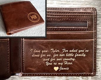 Personalized Mens Wallet - Leather Wallet, The Perfect Mens Gift, Boyfriend Gift, or Groomsmen Gift