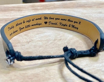 Personalized Leather Bracelet - Sentimental Gift for Men - Great for Holidays, Christmas or Birthdays