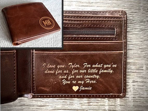Valentines Day Gift For Him Personalized Mens Wallet Etsy