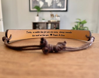 Personalized Leather Bracelet - Great Gift for the Guys - Perfect Wedding Favors or Anniversary Gift