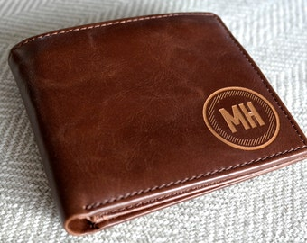 College Graduation Gift for Him - Personalized Men's Leather Wallet - Personalized Gift for Him