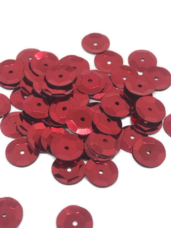 8mm Cup SEQUIN FACET PAILLETTES ~ Red Prism Reflective METALLIC ~ Made in USA