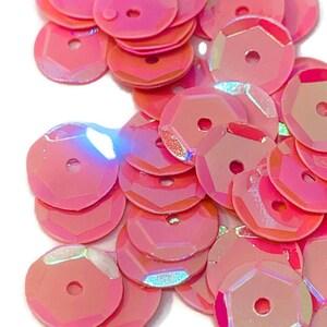 1000 sequins per package Neon Coral Paillettes 10mm Sequins Neon Clear Orange Coral Round Sequins Neon Sequins