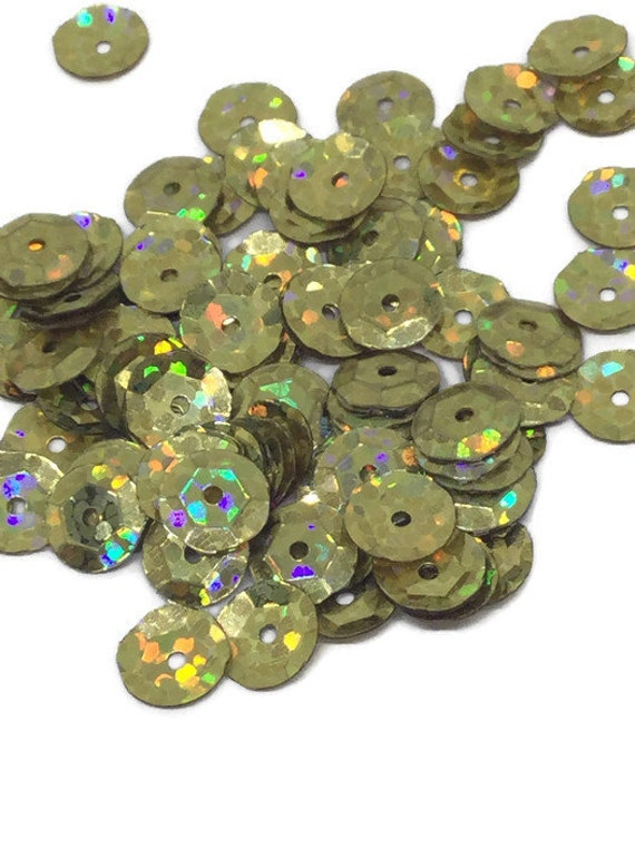 Seq en cadena con Lentejuelas Holograma 5 mm adorno de oro Lentejuelas Costura recorte