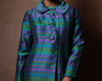Woven Silk Blend Metallic Striped Over Coat c. 1960