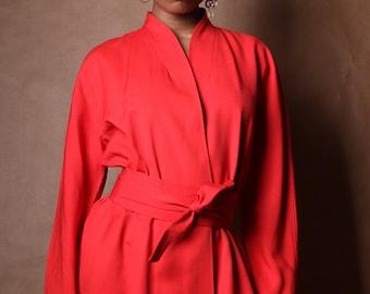 Iconic Halston Silk Shantung Kimono Style Wrap Dress c. 1975