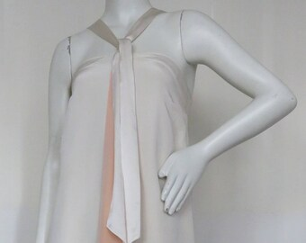 1970s Grecian Silk Lined Silk Crepe Halter Gown