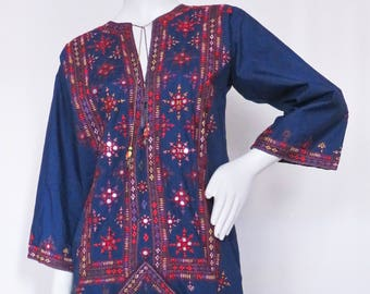 Vintage Embroidered and Embellished Tunic Maxi Dress