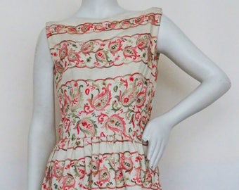 Vintage 1950s French Couture Lilly Dache Boat Neck Cotton/Linen Dress w/ Paisley Embroidery