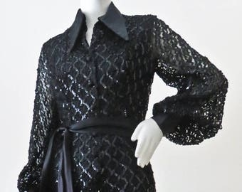 Dramatic Vintage 1970s Disco Glam Sequin Jumpsuit