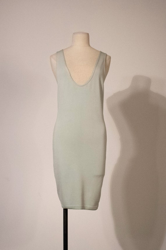Alaia pastel green stretch cotton bodycon dress