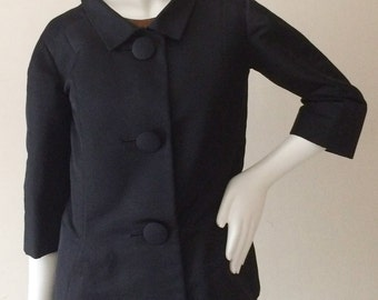 Early 1950s Pierre Cardin Couture Silk Jacket Made Expressly for Bloomingdales SIZE SM/M