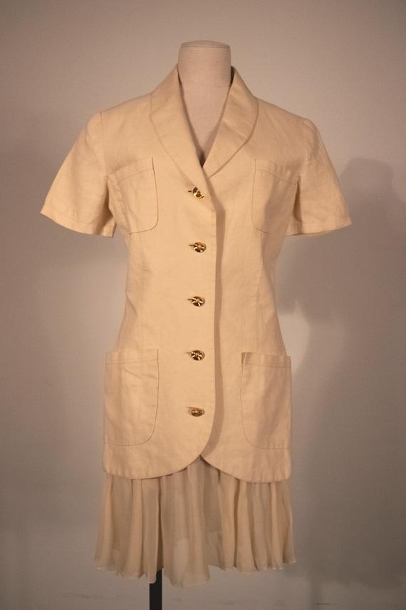 Chanel cream linen skirt suit