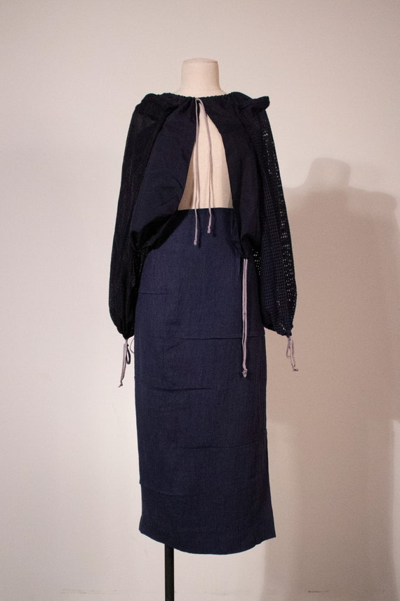 Matsuda navy linen pencil skirt