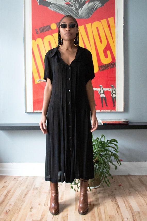 Matsuda black crepe maxi dress