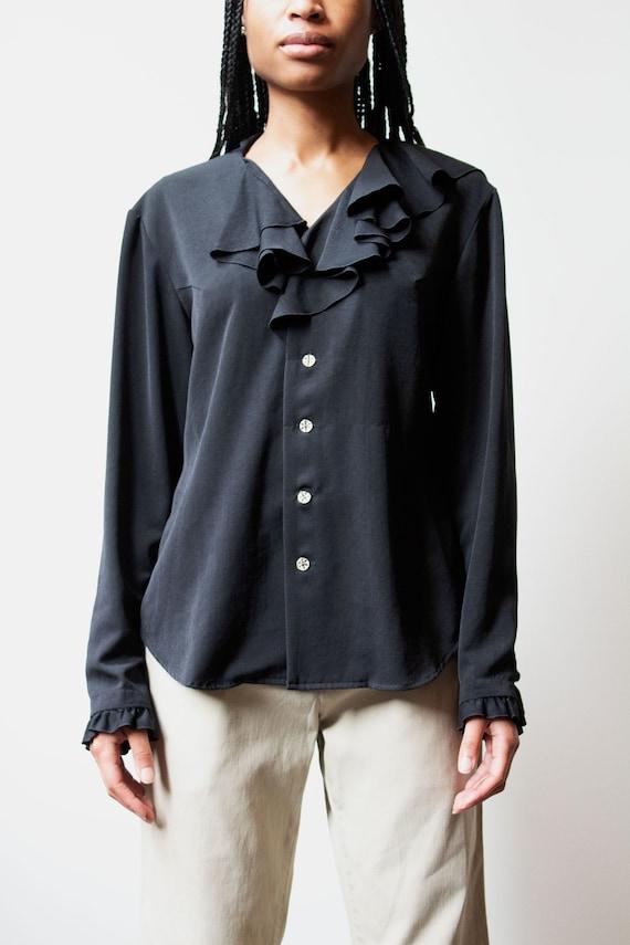 Matsuda black ruffle blouse