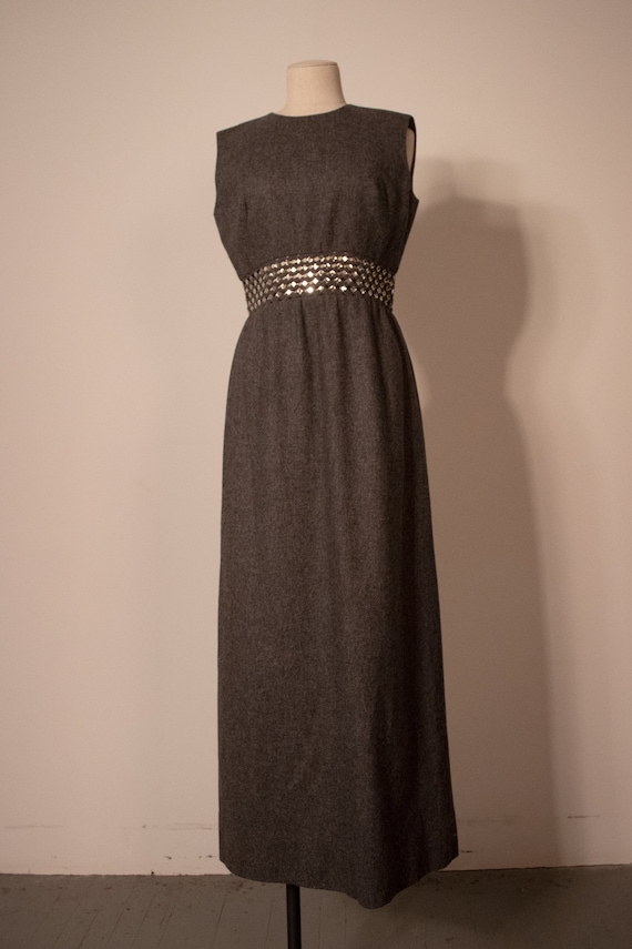 Anne Fogarty grey wool studded cut-out waistband d