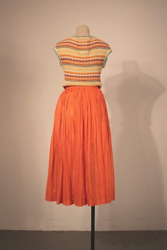 Missoni orange pleated cotton voile midi skirt - image 4