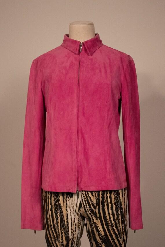 Jil Sander pink suede zip front jacket