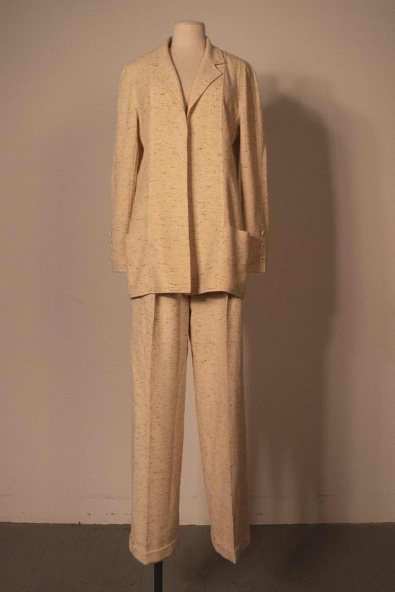 Chanel cream boucle two piece pant suit - image 1