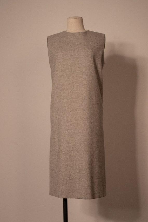 Hermes grey wool chevron sleeveless dress