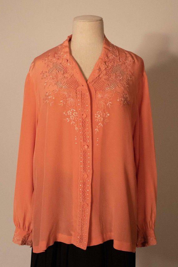 Vintage Italian pink silk blouse