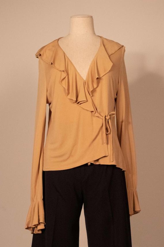 Mirror Room tan rayon crepe ruffled blouse