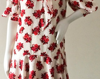 Vintage Andrea Odicini for Giorgio Beverly Hills Silk Rose Print Drop Waist Dress w/ Puffed Shoulder & Innovative Built-in Scarf SIZE SM/M