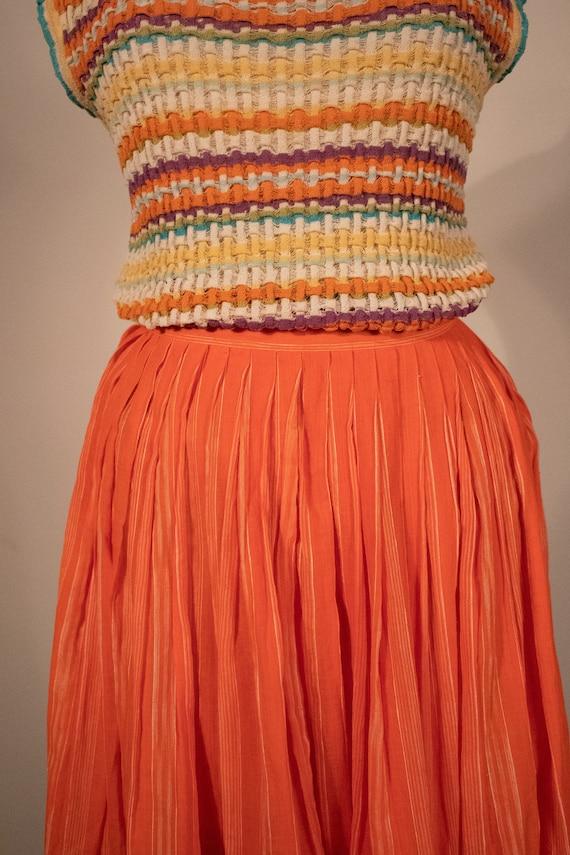 Missoni orange pleated cotton voile midi skirt - image 2