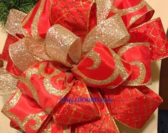 Red Gold Tree Topper Bow Elegant Christmas Whimsical Decor Holiday XL