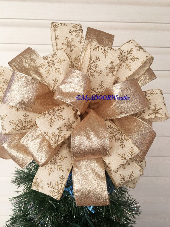 Christmas Tree Bow.Gold Snowflakes Christmas Tree Bow Topper Gold Christmas Tree Topper Bow Snowflakes Tree Bow Gold Bow Holiday Christmas Tree Topper Bow