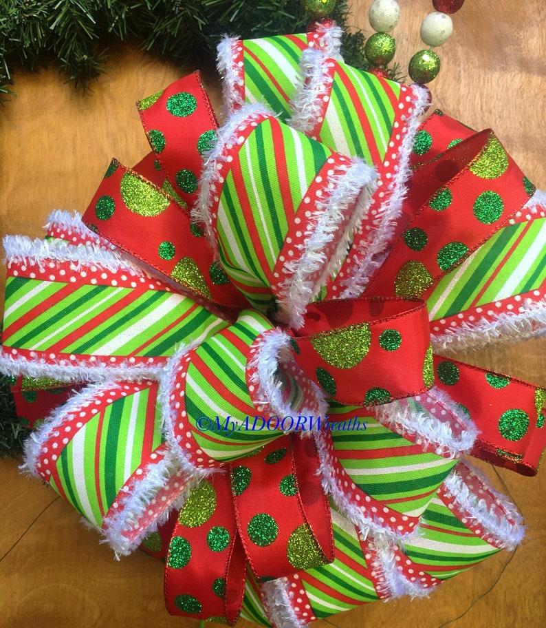 Grinch Theme Red Green Christmas Bow Christmas Bow Christmas Tree Topper Bow Christmas Whimsical Holiday Bow, Traditional Christmas Bow