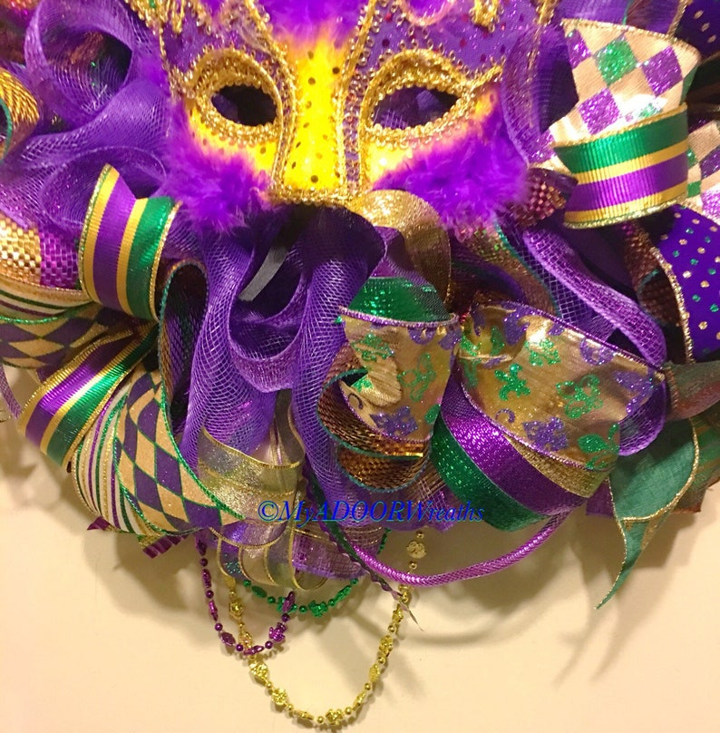Mardi Gras Decoration Mardi Gras Decor Fat Tuesday Wreath Mardi Gras Mardi Gras Wreath,Jester Mask Wreath Deco Mesh Mardi Gras Wreath