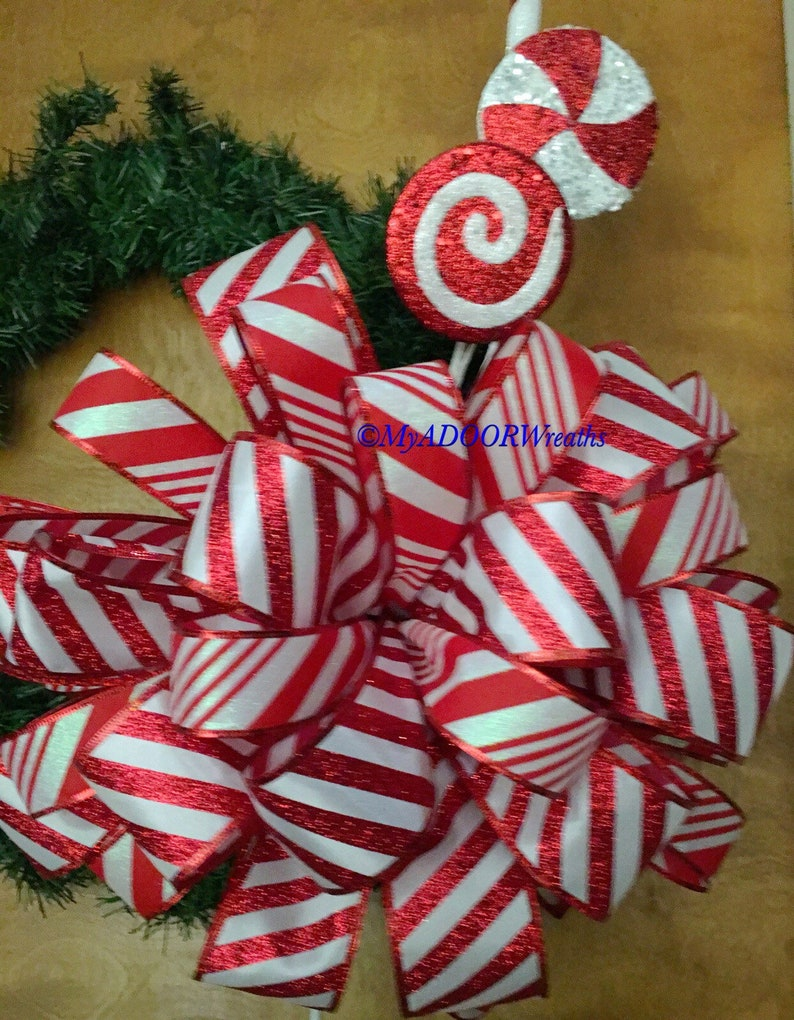 Candy Cane Tree Bow Red White Tree Topper Bow Christmas Tree Topper Bow Candy Cane Tree Decor Holiday Red Bow Candy Cane Bow Xmas Bow