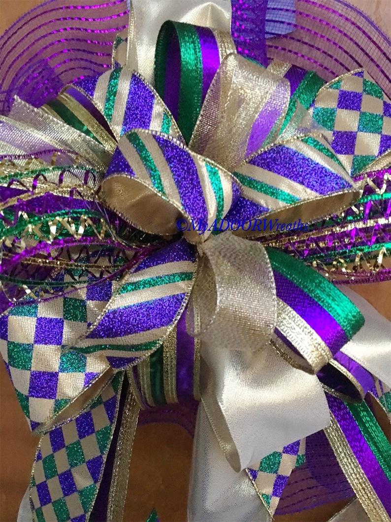 Mardi Gras Mailbox Wired Ribbon Bow Mardi Gras Decor Bow Mardi Gras Mailbox Bow Mardi Gras Party Bow Huge MG Bow Mardi Gras Wreath Bow