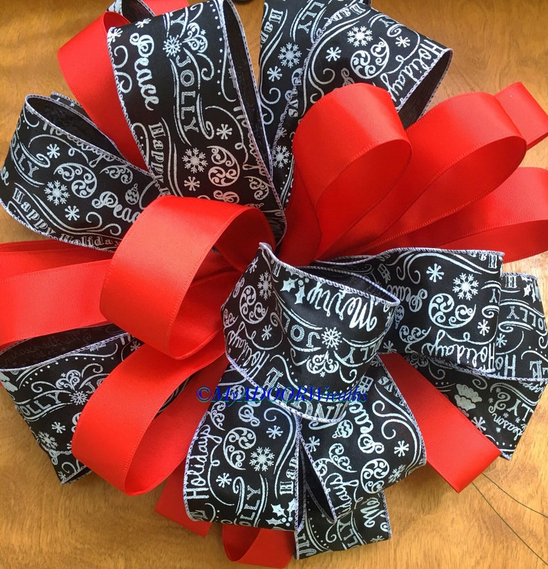 Christmas Chalkboard Tree Topper Bow Merry Christmas Bow Red /& Black Christmas Tree Topper Bow Christmas Script Tree Bow Holiday Red Bow
