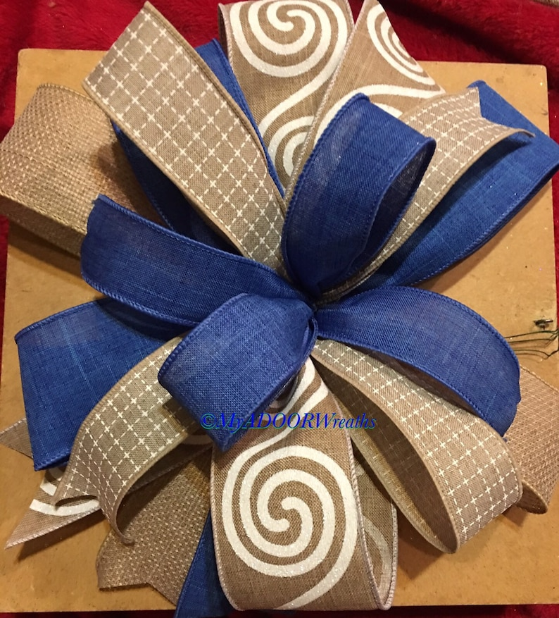 Gift Bow Blue Bow Blue /& Beige Wreath Bow Everyday Wired Ribbon Bow Blue And Beige Lantern Bow Spring Summer Bow Banister Mailbox Bow