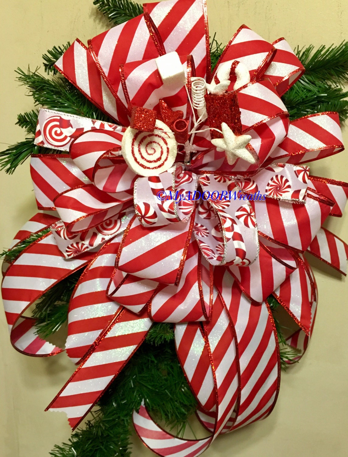 Candy Cane Tree Topper Bow Christmas Red White Tree Bow | Etsy